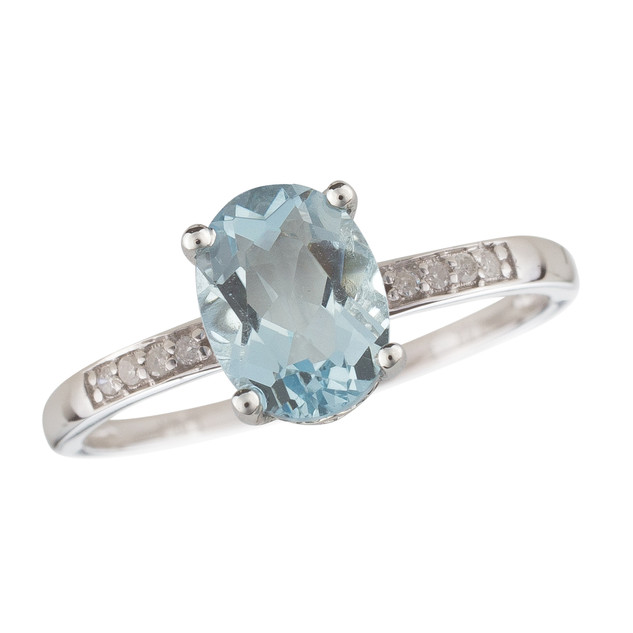 March: White Gold Oval Aquamarine and Diamond Ring