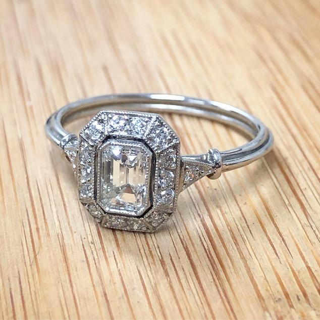 Vintage Style Emerald Cut Diamond Engagement Ring