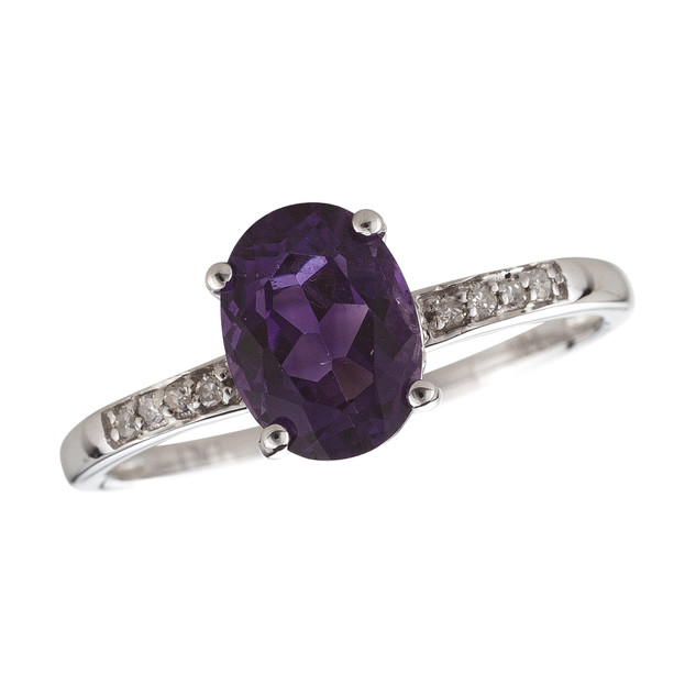 February: White Gold Oval Amethyst and Diamond Ring