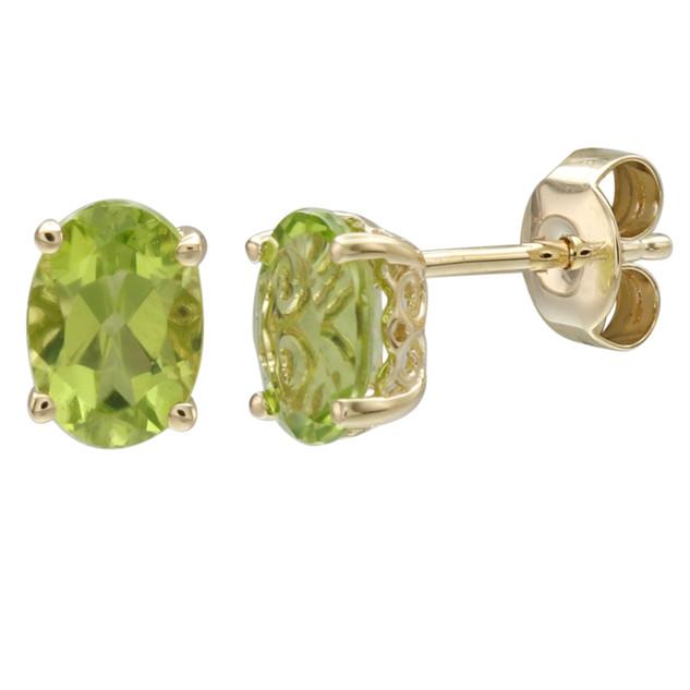 August: Yellow Gold Oval Peridot Stud Earrings