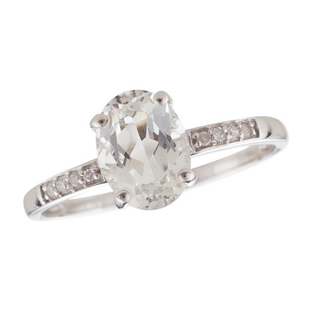 April: White Gold Oval White Topaz and Diamond Ring