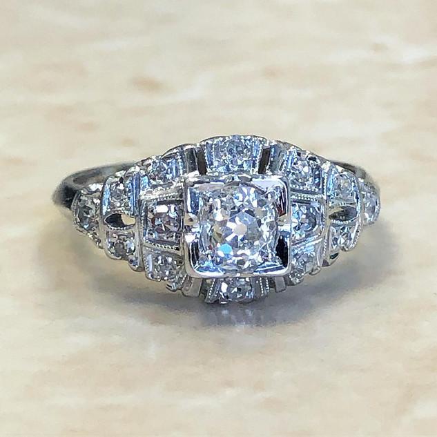 Antique Platinum Diamond Engagement Ring Circa 1900.