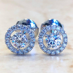 Custom-Made 0.75 Carats Diamond Halo Stud Earrings