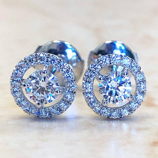 Custom Made 0.75 Carats Diamond Halo Stud Earrings