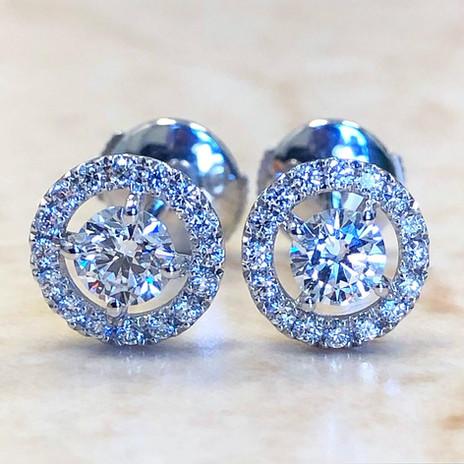 0.75 Carats Diamond Halo Stud Earrings