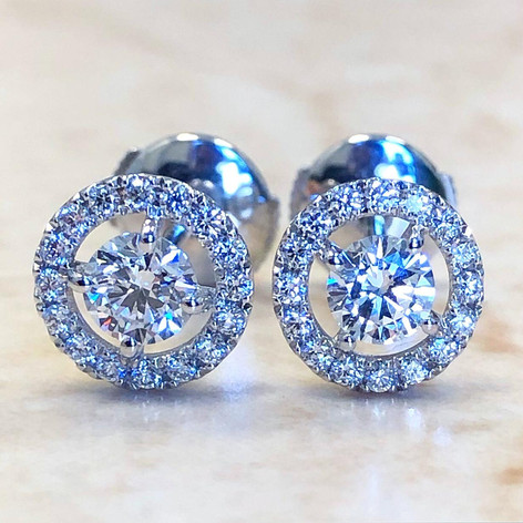 Custom-Made 0.75 Carats Diamond Halo Stud Earrings