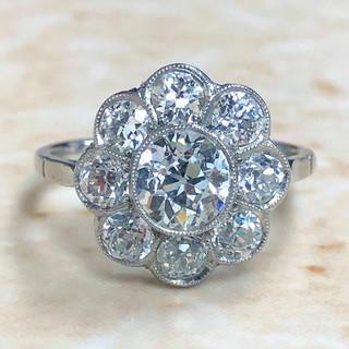 2.40 Carats Vintage Style Platinum Diamond Engagement Ring