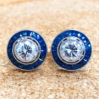 1.00 CT Diamond Studs With Sapphire Halo