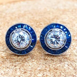 1.00 CT Diamond Studs With Sapphire Halo