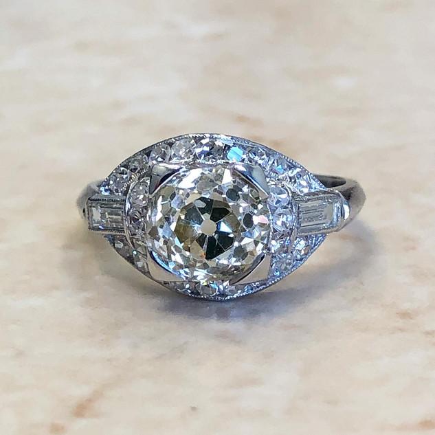Antique Platinum Diamond Engagement Ring 2.35 CTTW Circa 1900