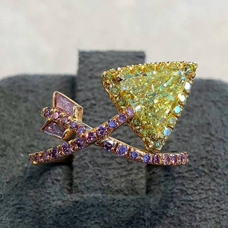 Fancy Intense Yellow and Pink Diamond Ring by Carvin French