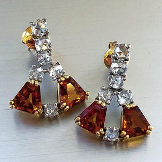 Vintage Gold Citrine and Diamond Earrings
