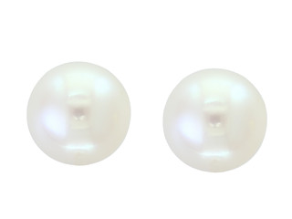 Yellow Gold Natural White Fresh Water Pearl Stud Earrings