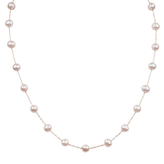 Rose Gold Natural Pink Fresh Water Pearl Tin Cup Necklace