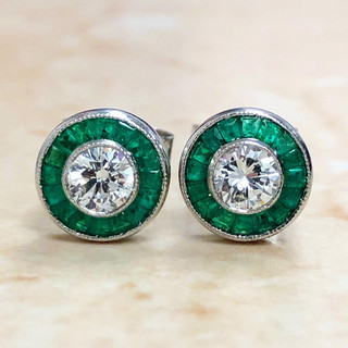 0.60 CT Diamond Studs With Emerald Halo