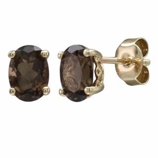 June: Yellow Gold Oval Smokey Quartz Stud Earrings