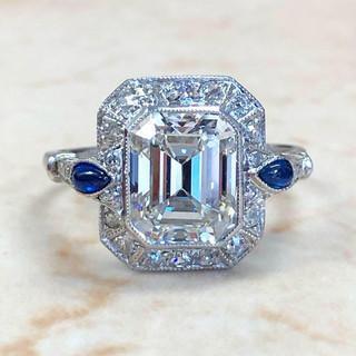 2.60 Carats Emerald Cut Diamond & Sapphire Engagement Ring