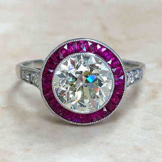 Handcrafted Platinum Ruby Halo Diamond Engagement Ring