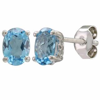 December: White Gold Oval Blue Topaz Stud Earrings