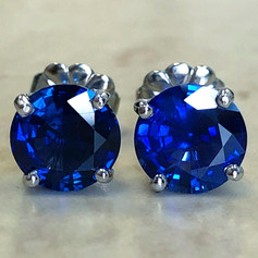Custom-Made 2.65 Carats Sapphire Stud Earrings
