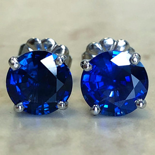 Custom Made 2.65 Carats Sapphire Stud Earrings