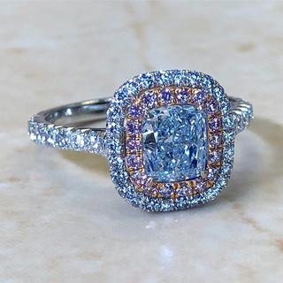 1.05 Carat Blue & Pink Diamond Engagement Ring