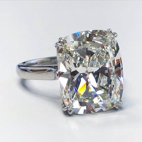 9.58 Carats Cushion Cut Diamond Engagement Ring