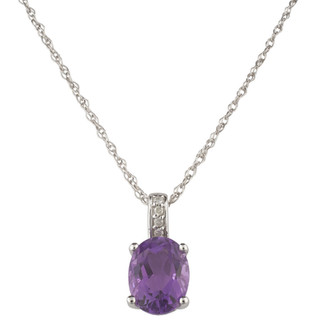 February: White Gold Oval Amethyst and Diamond Pendant