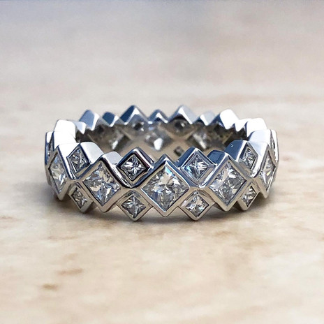 White Gold Princess Cut Eternity Ring 3.5 CTTW