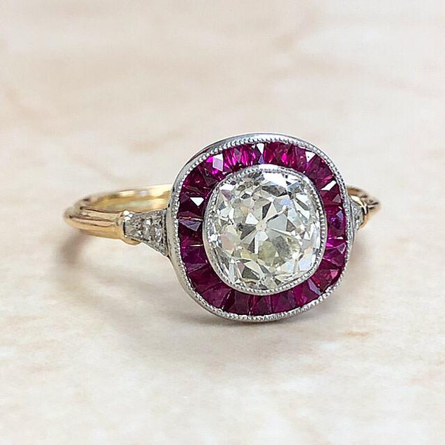 Handcrafted Gold & Platinum Ruby Halo Diamond Engagement Ring