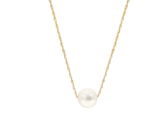 Yellow Gold Natural White Fresh Water Pearl Pendant Necklace