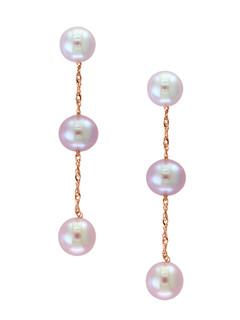 Rose Gold Natural Pink Fresh Water Pearl Dangling Earrings
