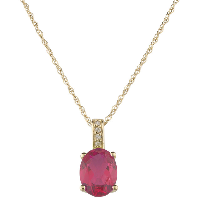 July: Yellow Gold Oval Ruby and Diamond Pendant