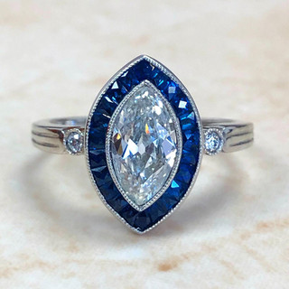 1.01 Carat Marquise Diamond & Sapphire Engagement Ring