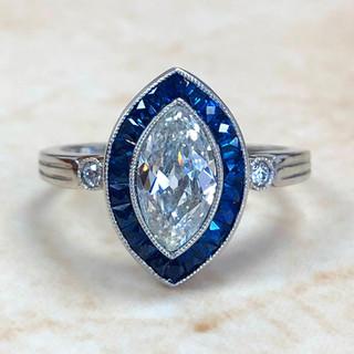 1.01 Carat Marquise Diamond & Sapphire Engagement Ring