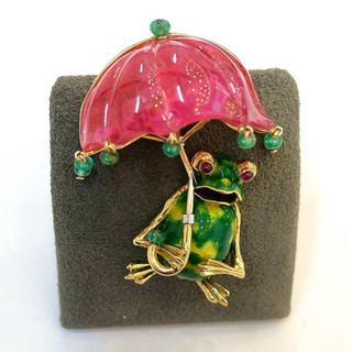 Collectible Tourmaline Brooch by Carvin French