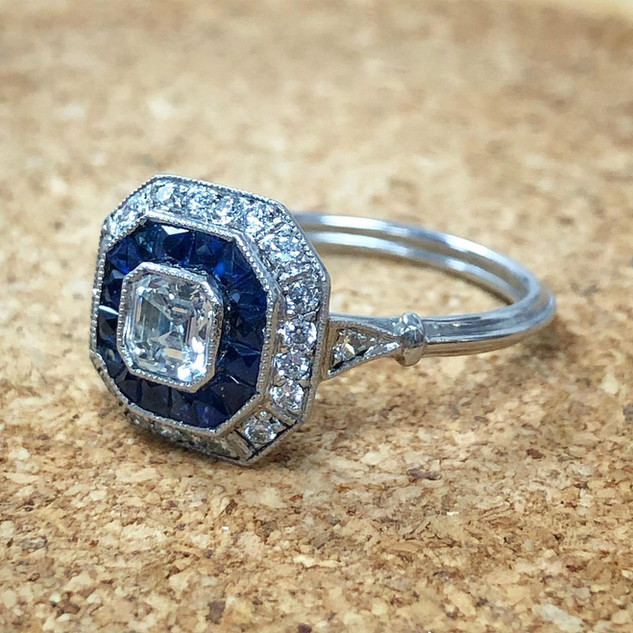 Asscher Cut Diamond and Sapphire Engagement Ring