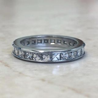 Vintage Platinum French Cut Eternity Ring 3.35 CTTW