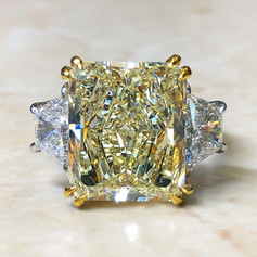 7.89 Carats Radiant Yellow Diamond Engagement Ring