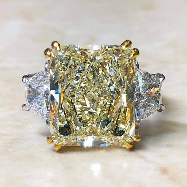 7.89 Carats Radiant Yellow Diamond Ring