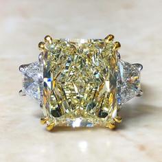 7.89 Carats Radiant Yellow Diamond Engagement Ring