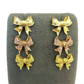Pink and Yellow Diamond Bow Earrings