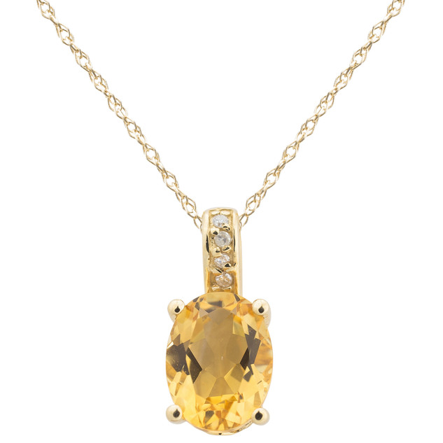 November: Yellow Gold Oval Citrine and Diamond Pendant