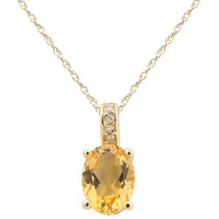 November: Yellow Gold Oval Citrine and Diamond Pendant