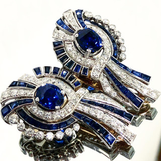Vintage Sapphire and Diamond Double Clip Brooch