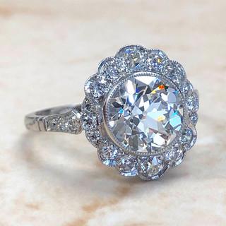2.16 Carats Old European Cut Diamond Halo Engagement Ring