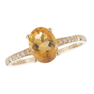 November: Yellow Gold Oval Citrine and Diamond Ring