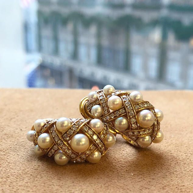 18 Karat Yellow Gold, Cultured Pearl and Diamond Earrings by Chanel