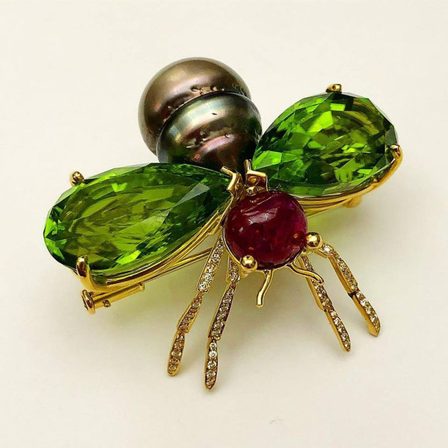Peridot, Diamond, Ruby and Pearl Brooch by Carvin French