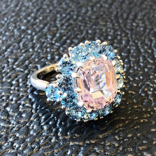 Magnificent Pinkish Orange Sapphire and Aquamarine ring by Carvin French